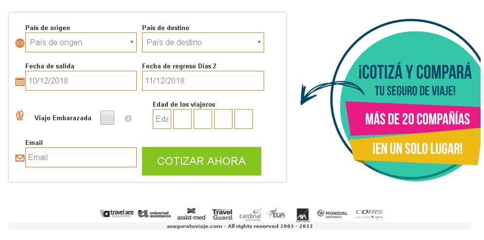COTIZAR SEGURO DE VIAJE ONLINE
